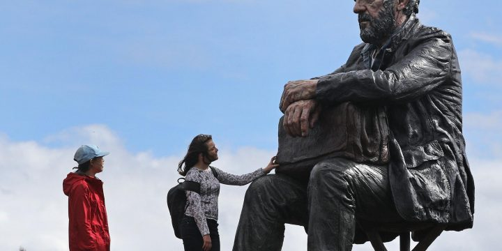 Celebrated sculpture of seated man moved out of North York Moors for being 'too popular'